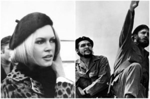 Brigitte Bardot in the 1960s and Che Guevara (L) with Fidel Castro in the early 1960s